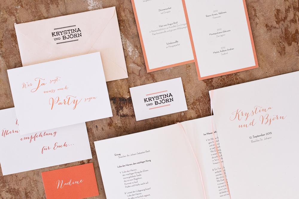 Hochzeit Design Summer Peach Letterpress Papeterie