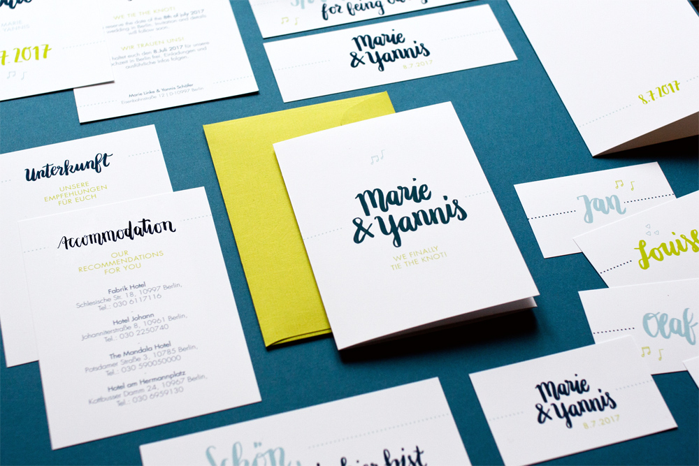 Design Blue Brush Hochzeit Papeterie Lettering