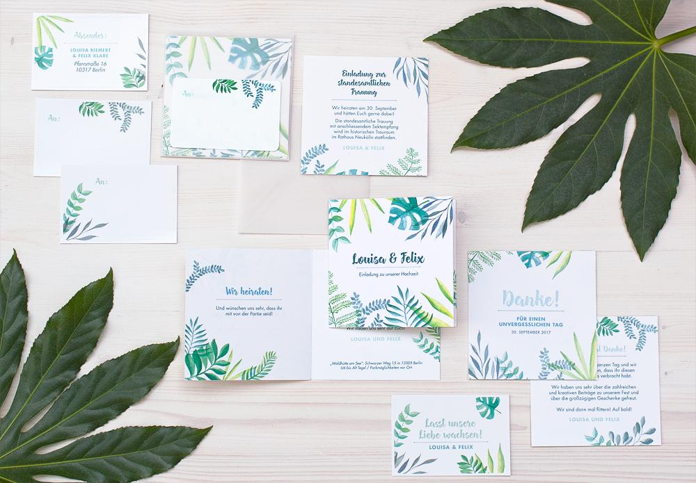 Papeterie Hochzeit Design Wild Greenery Einladung