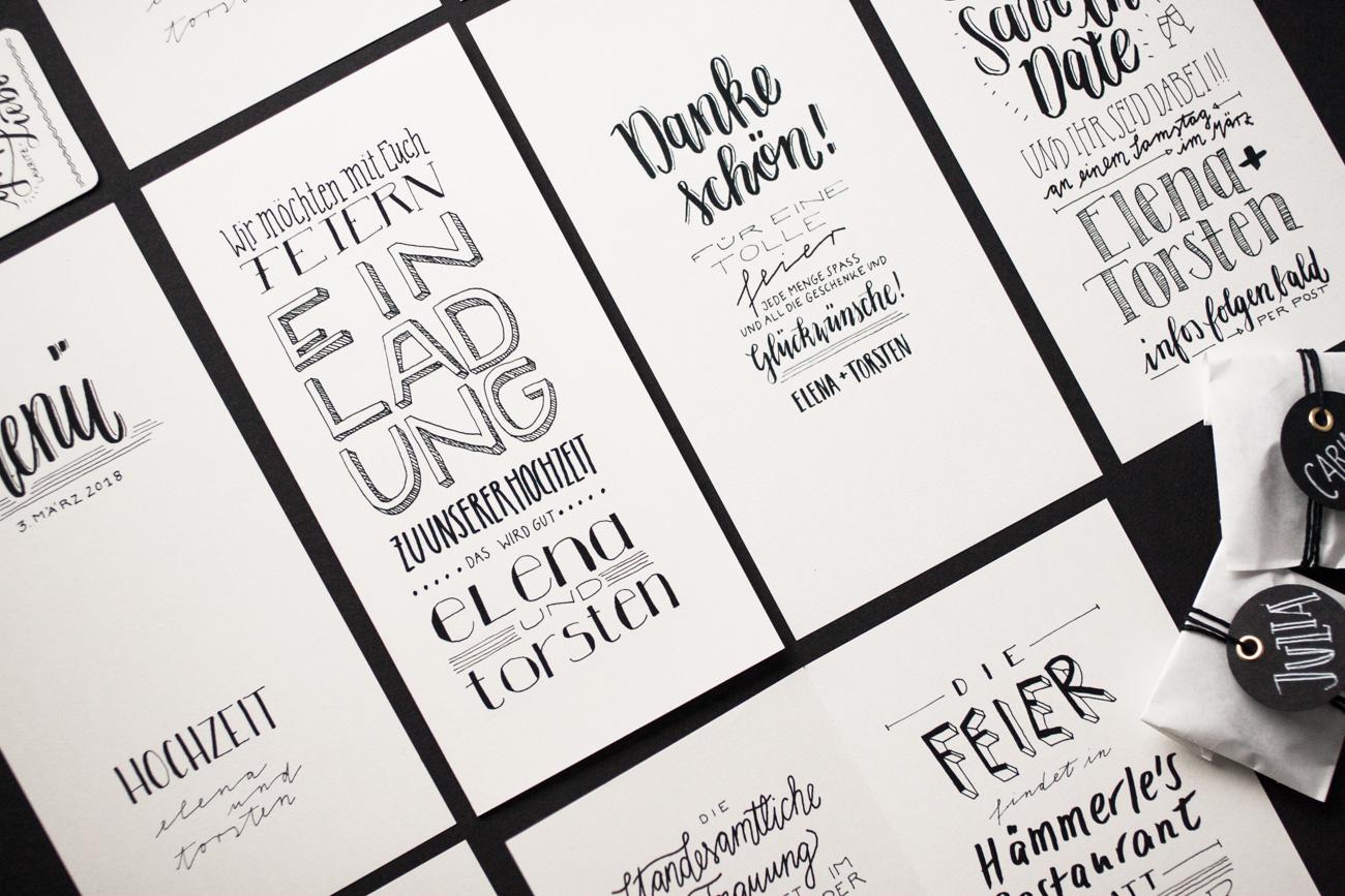 Design Letter Love Hochzeit alle Karten Handlettering
