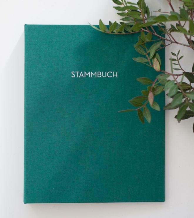 Stammbuch malachit mit moderner Prägung in weiß