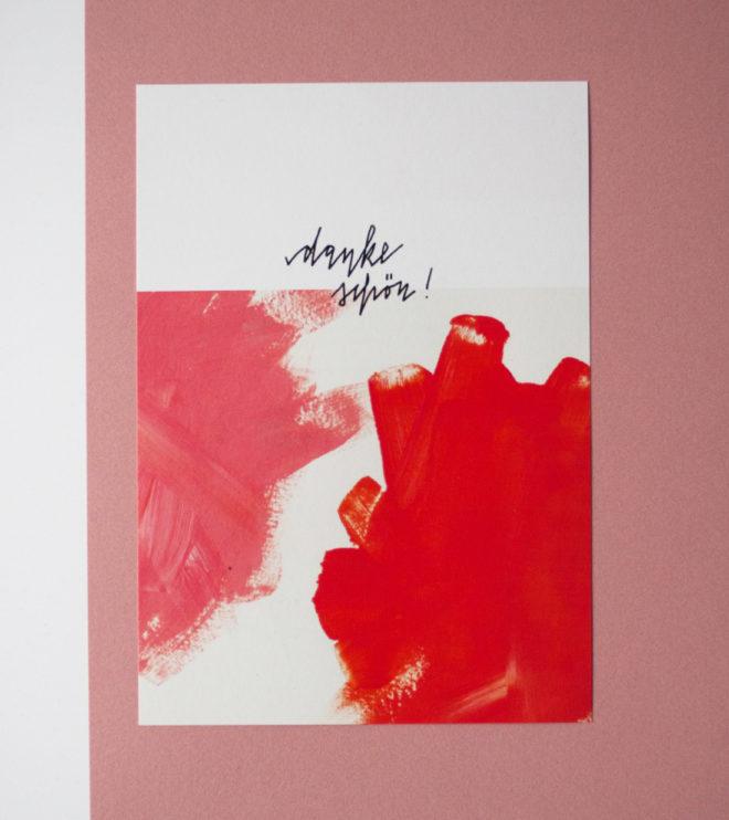 Pastellfarbene Dankeskarte aus dem Papeterie Set Famos Pastos