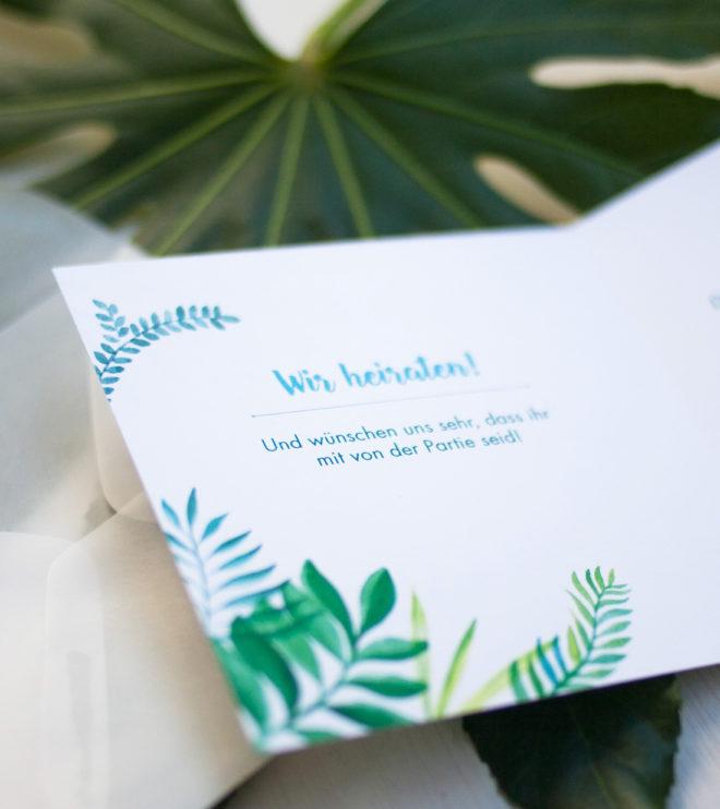 Quadratische Greenery Einladungskarten Detail Innenseite