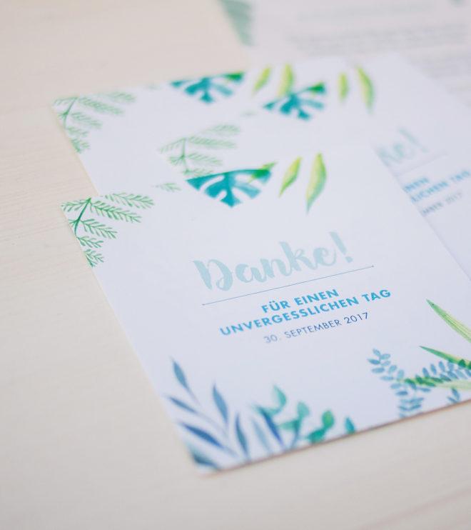 Quadratische Dankeskarte im Greenery-Design