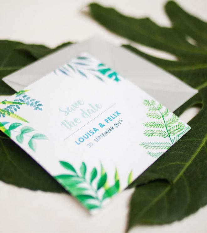 Süße quadratische Greenery Save the Date Karten Detail Vorderseite