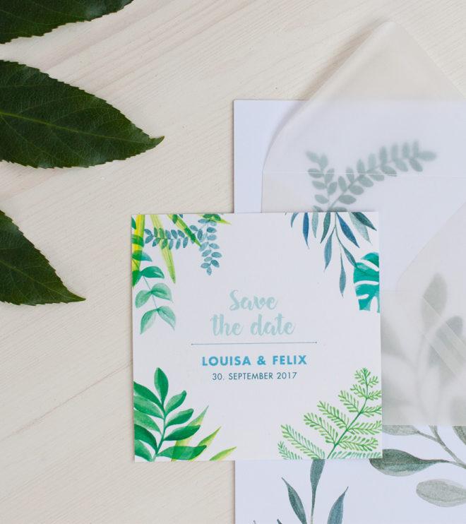Süße quadratische Greenery Save the Date Karten
