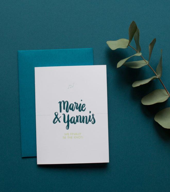 Zweisprachige Einladungskarte Klappkarte mit Hochzeitslogo