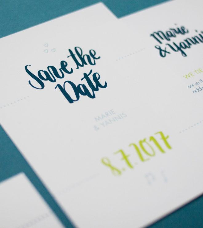 Brushlettering Save the Date Karte handgeschrieben