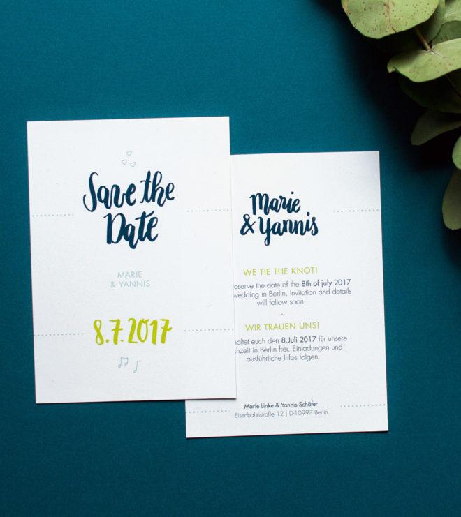 Brushlettering Save the Date Karte Hochzeitslogo