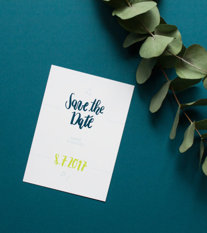 Brushlettering Save the Date Karte Postkarte