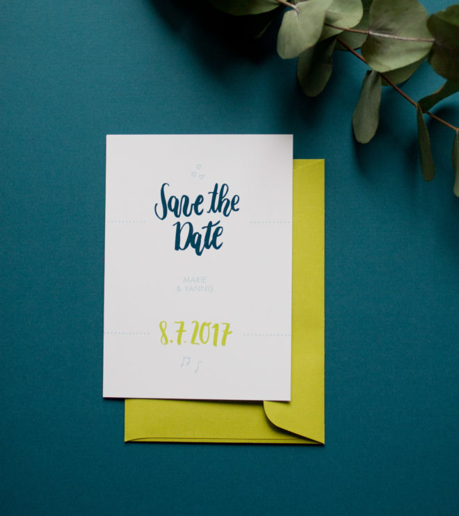 Brushlettering Save the Date Karte petrol