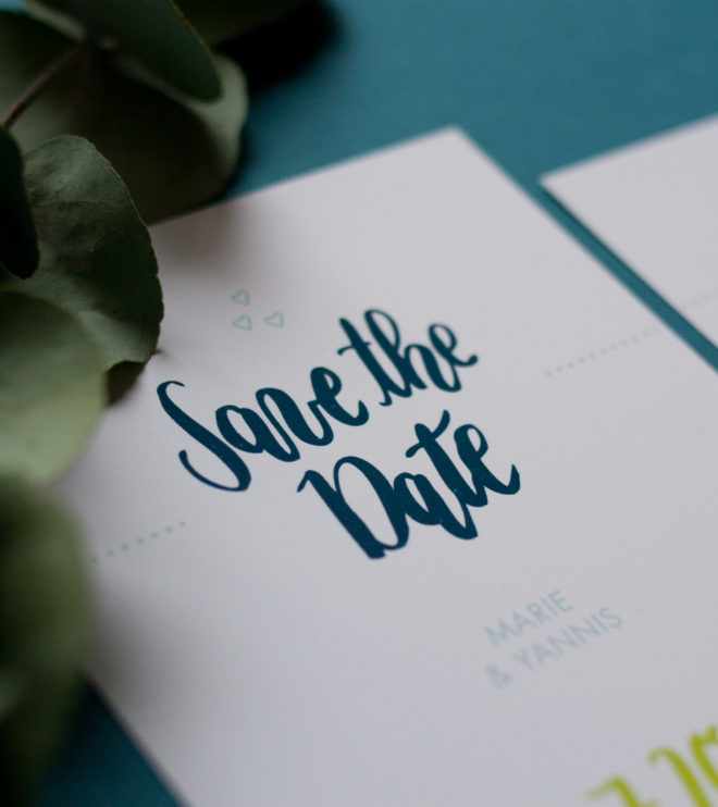 Brushlettering Save the Date Karte Detail