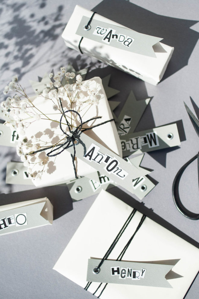 Geschenkanhänger selbst machen und kreativ Geschenke verpacken