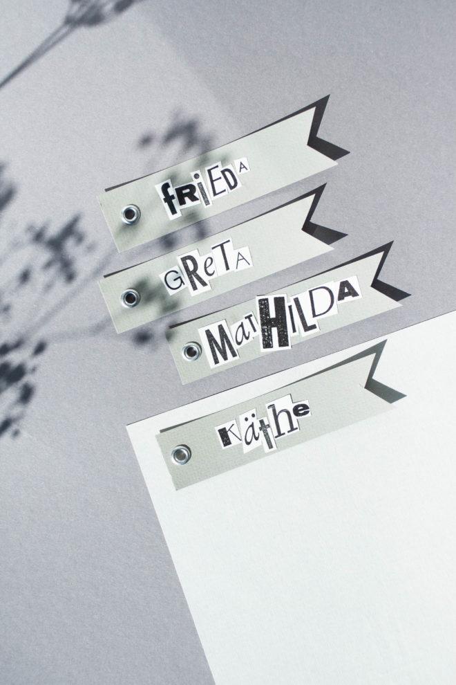 Moderne Geschenkanhänger selbst machen mit Buchstaben Vorlage