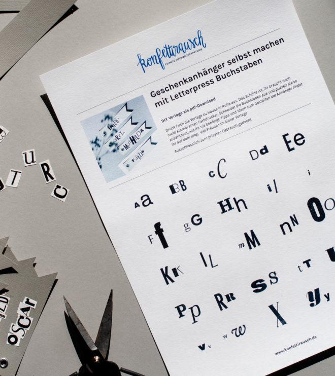DIY Letterpress Buchstaben Vorlage zum Selbstausdruck