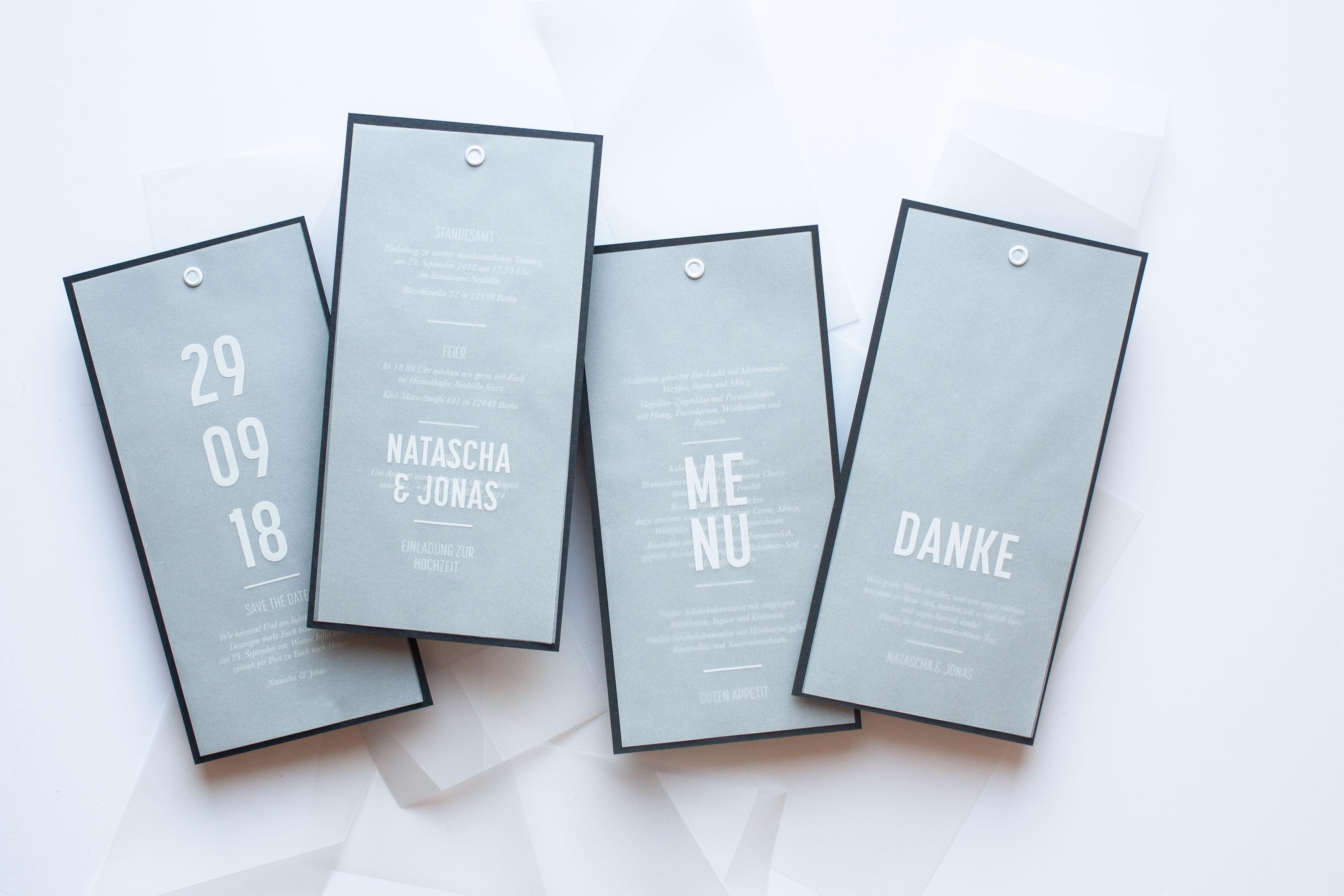 Schlichtes & modernes Hochzeit Papeterie Design minimal einfach Detail alle Karten