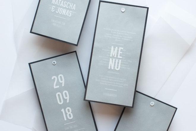 Schlichtes & modernes Hochzeit Papeterie Design minimal einfach Detail Übersicht Karten