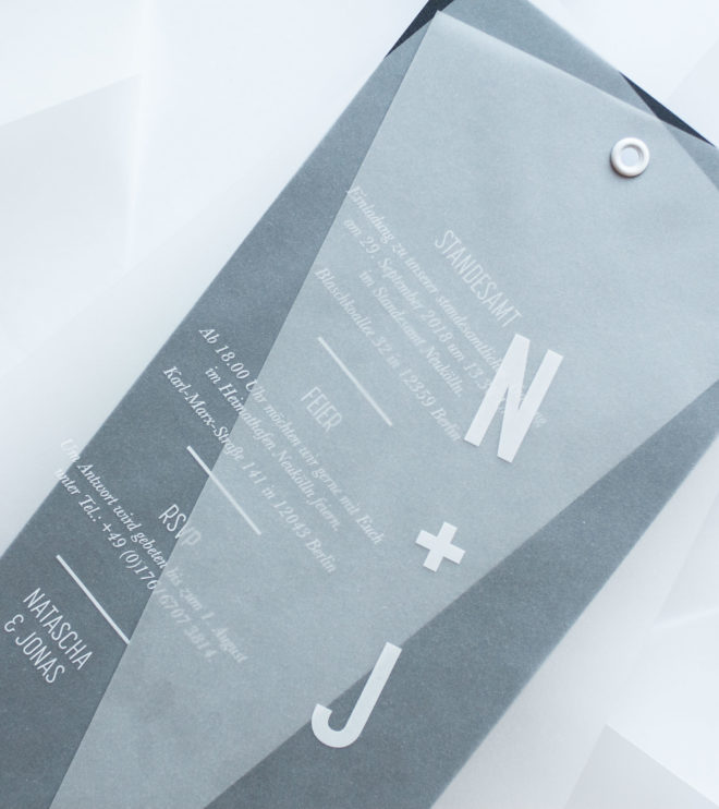Minimalistische Einladungskarte für die moderne Hochzeit