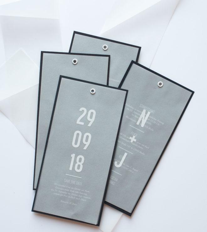 Moderne und besondere Save the Date Karte mit Transparentpapier
