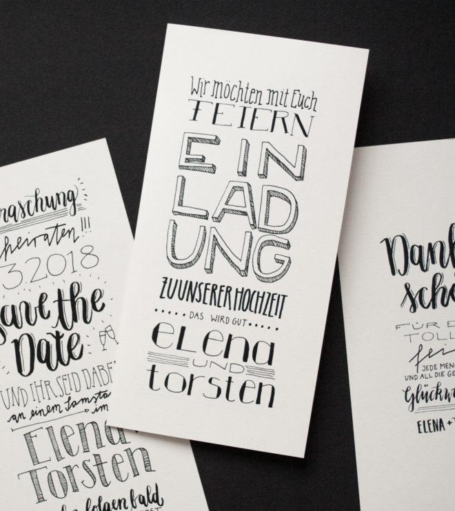 Handlettering Einladungen Hochzeit Papeterie