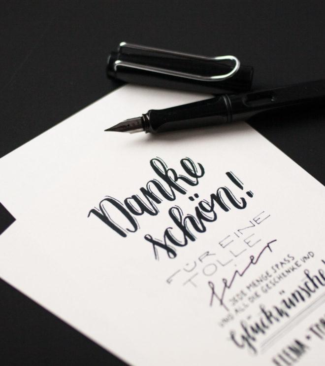 Handlettering Dankeskarten Dankeschön persönlicher Text Hochzeitspapeterie