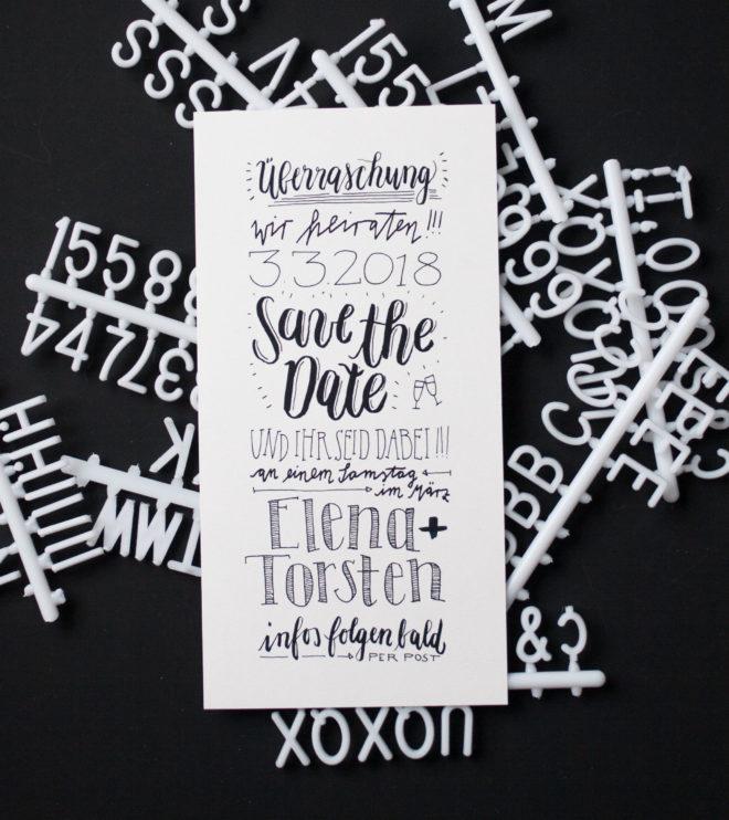 Save the Date Karten mit Handlettering Hochzeitspapeterie