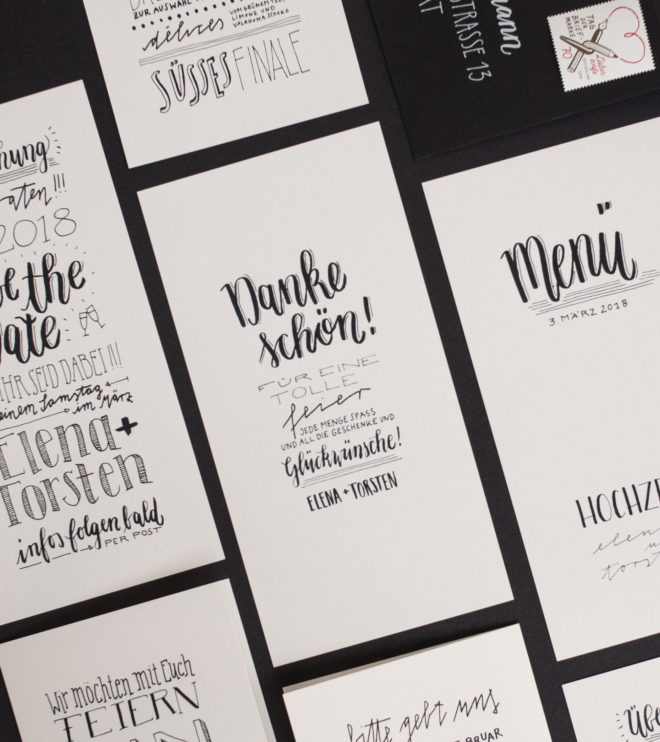 Handlettering Dankeskarten Letter Love Hochzeitspapeterie Set