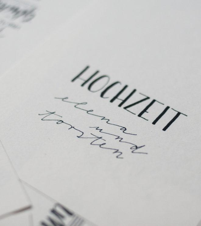 Menükarten für die Hochzeit mit Handlettering