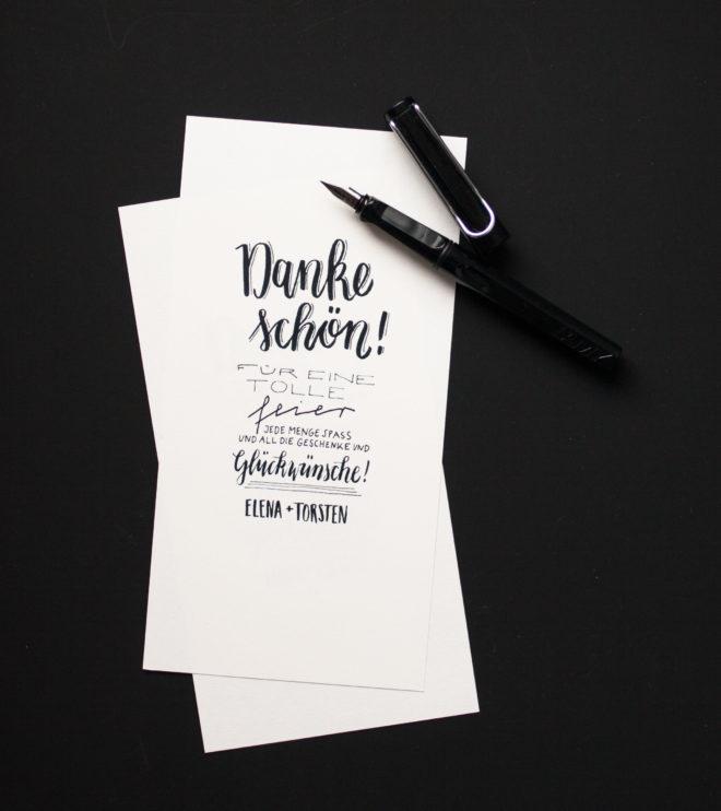 Handlettering Dankeskarten persönliche Worte, modernes Design