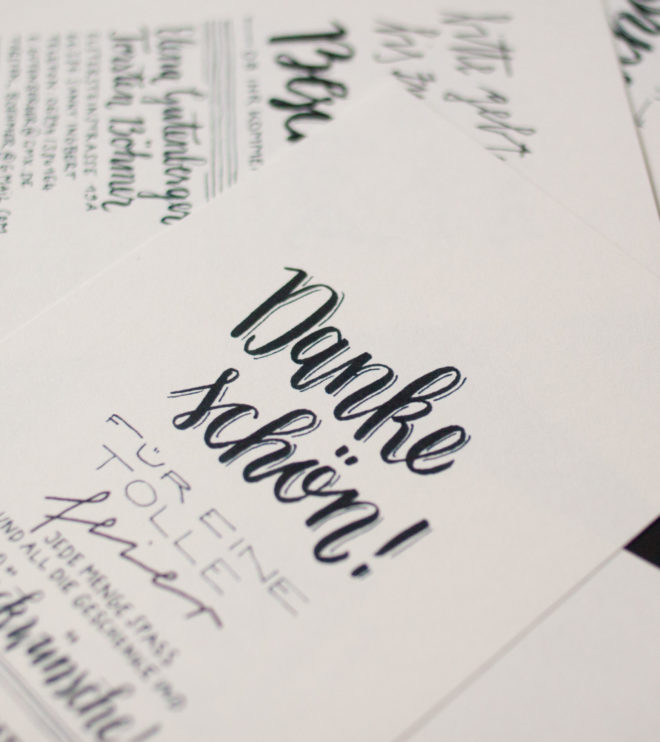 Handlettering Dankeskarten Detail Hochzeitspapeterie