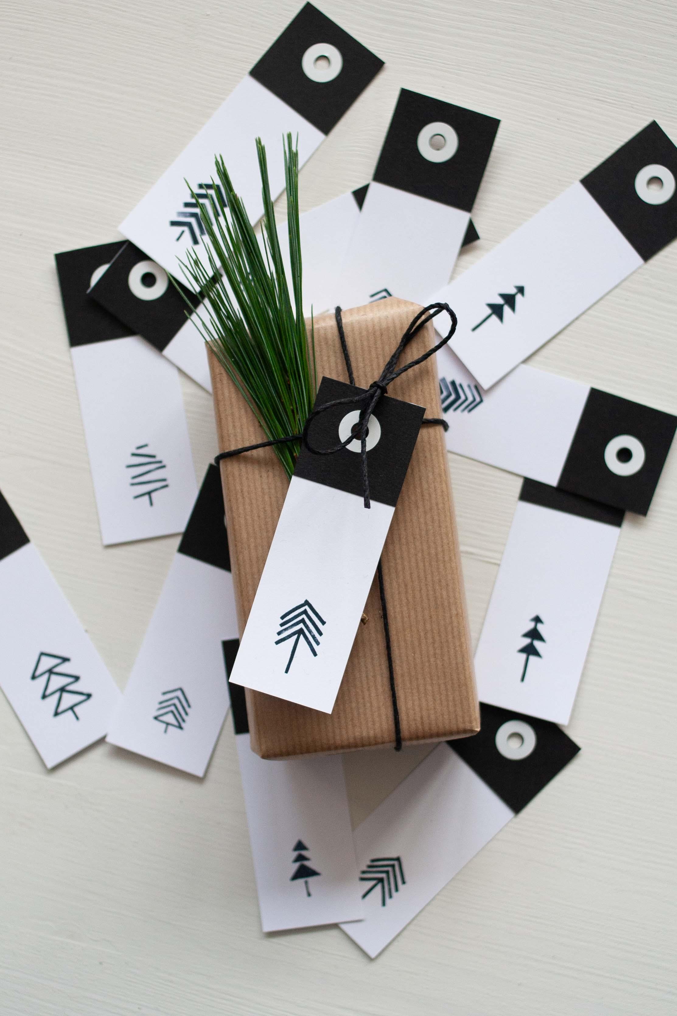 Moderne DIY Geschenkanhänger Vorlage für Weihnachten
