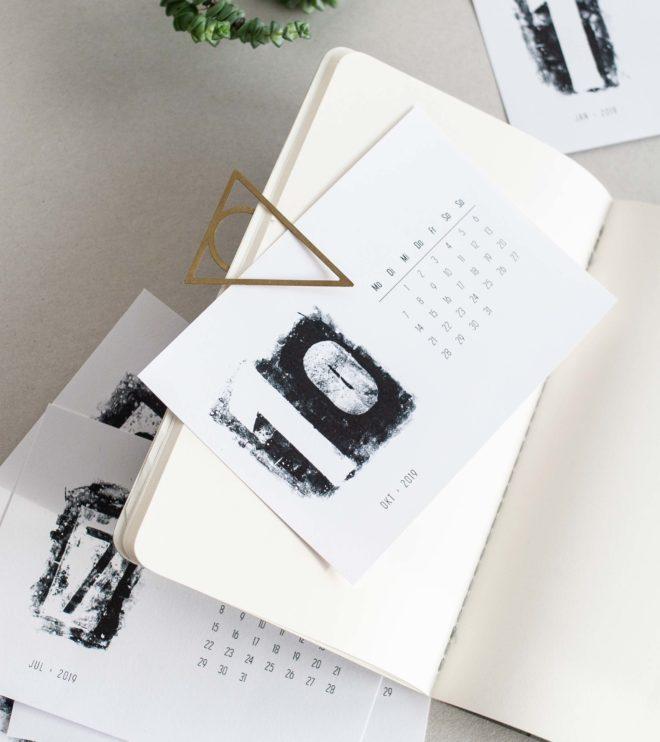 Schwarz-weiss Kalender Printable Monatsblatt Notizheft