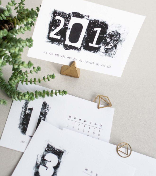 Schwarz-weiss Kalender Printable Coverblatt