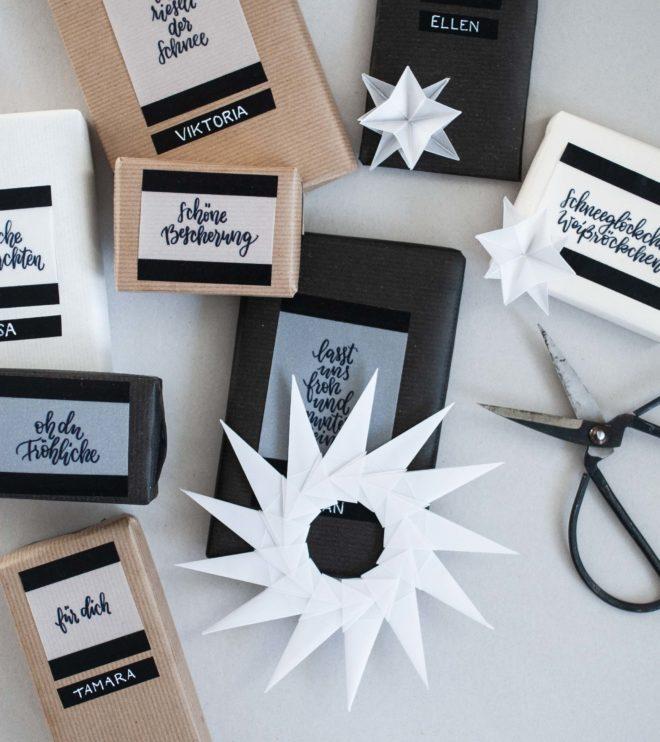 Handlettering für Weihnachtsgeschenke als Printable Kraftpapier