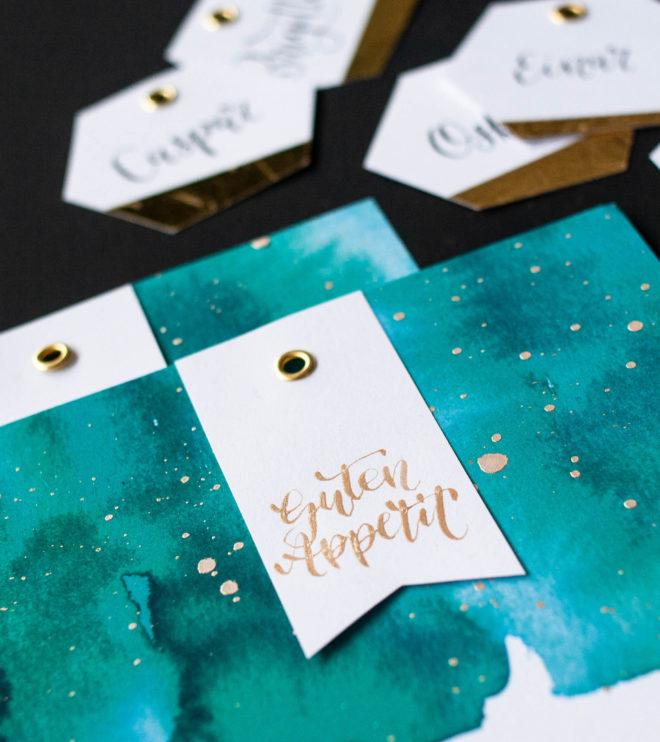 Goldene Kalligrafie für die Hochzeit