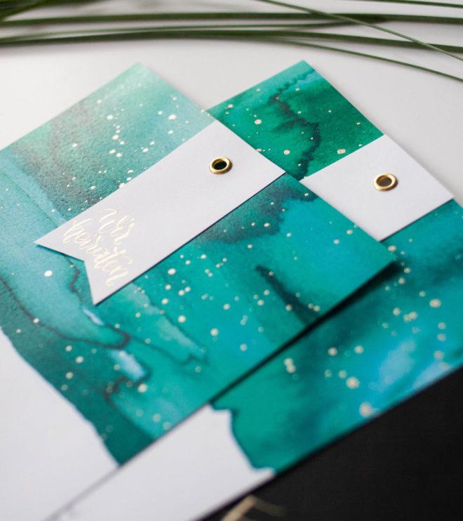 Moderne Einladungskarte mit Aquarell für die Hochzeit