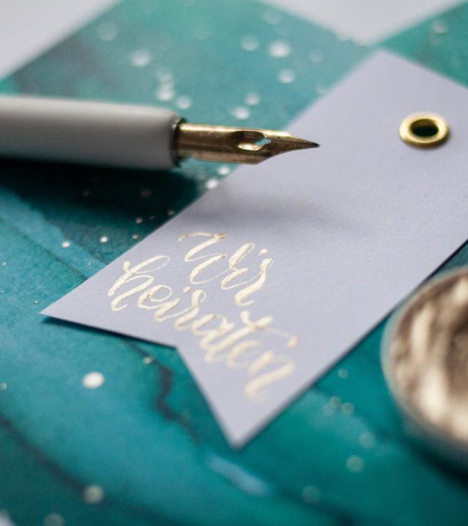 Detail Wir heiraten Kalligrafie