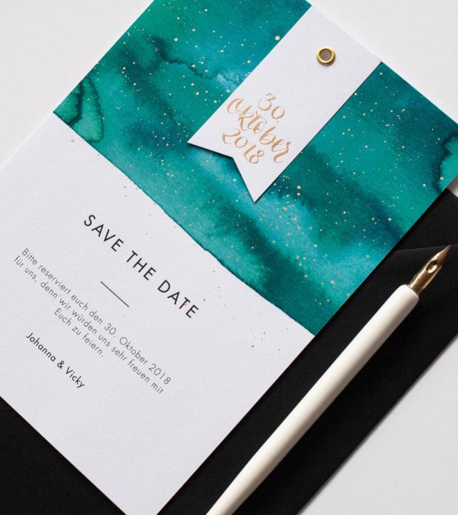 Schöne Save the Date Karte mit moderner Kalligrafie