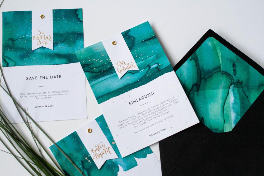 Hochzeit Papeterie Design mit Kalligrafie und Aquarell