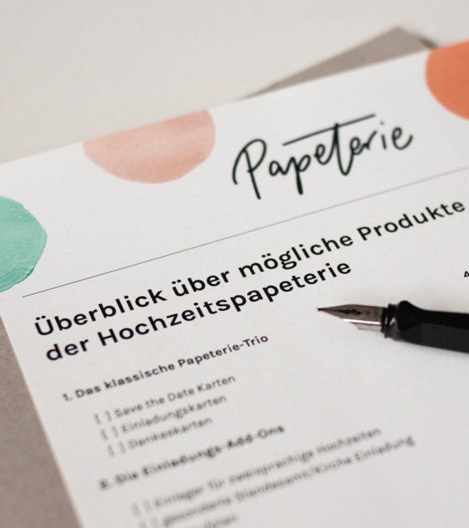 Checkliste Papeterie Übersicht
