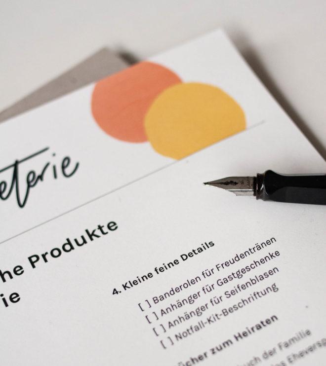 Checkliste Papeterie Details