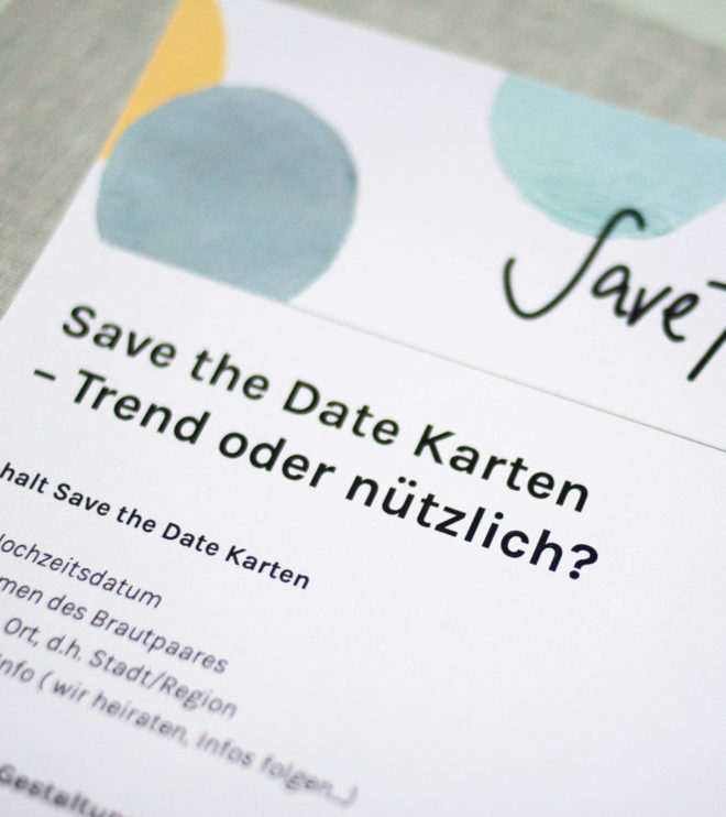 Infoblatt über Save the Date Karten