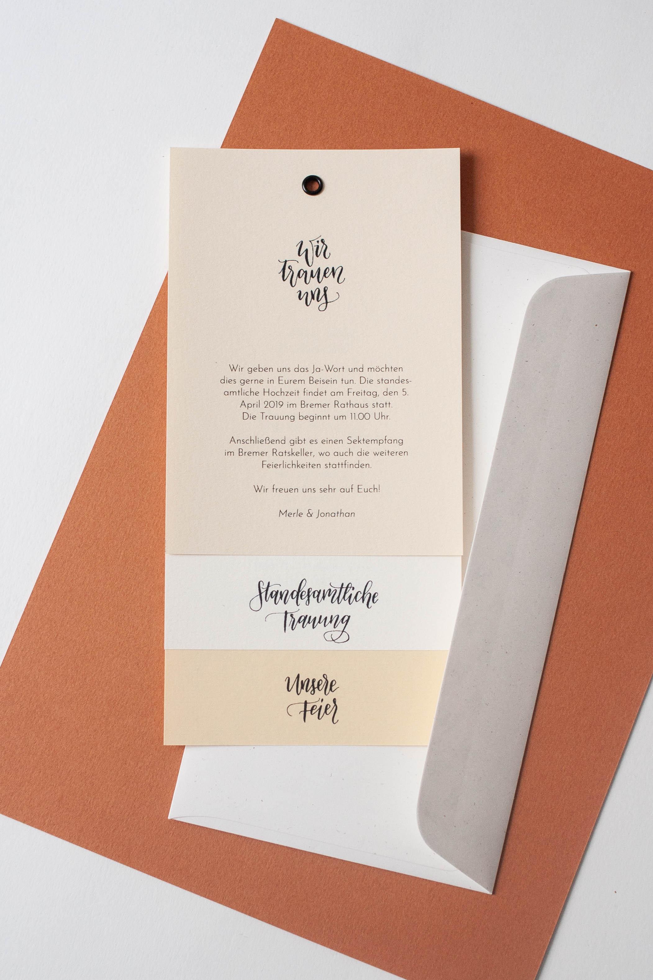 Hochzeitspapeterie selbst machen: Einladungskarte