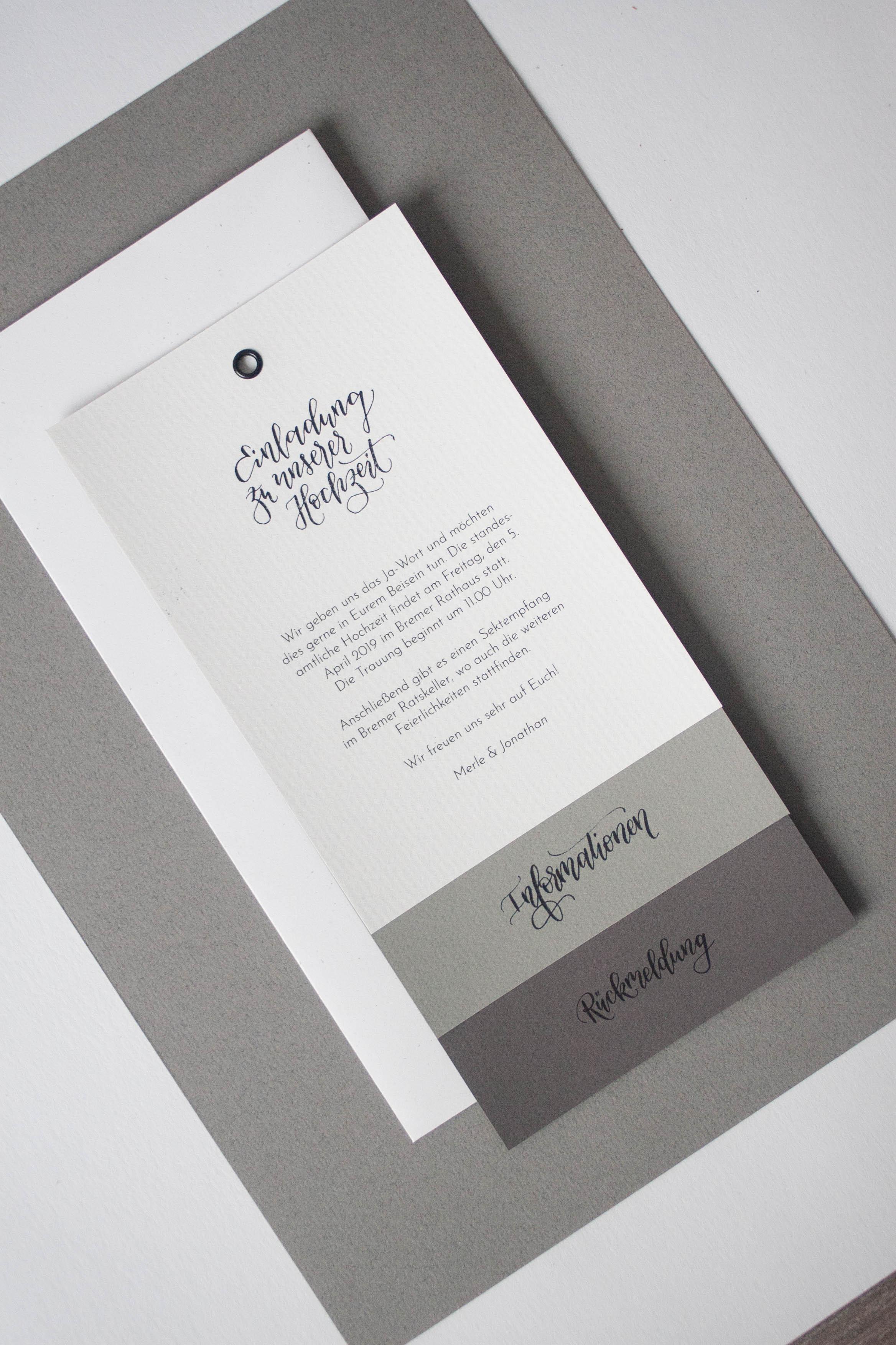 Hochzeitspapeterie selbst machen: Einladung in Grautönen