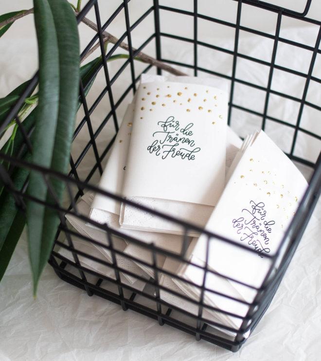 Freudentränen Banderole zur Hochzeit für Taschentücher