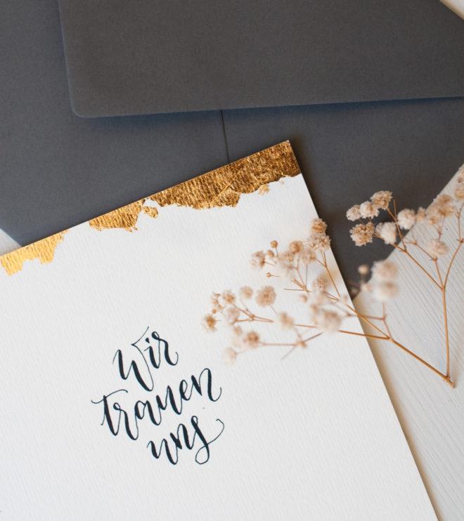 mit Blattgold Hochzeitseinladung vergolden