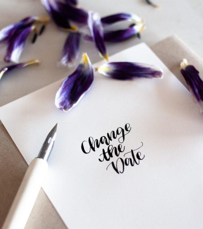 Hochzeit verschieben mit einer Change the Date Karte