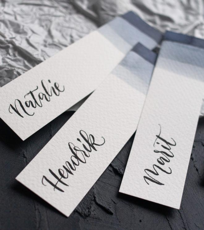 Moderne Namenskarten Hochzeit