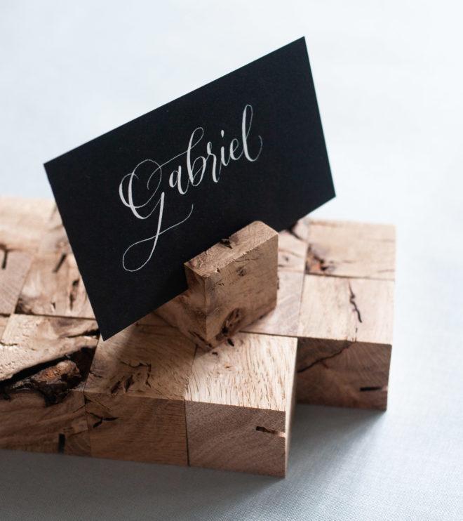 Kartenhalter Würfel aus Holz